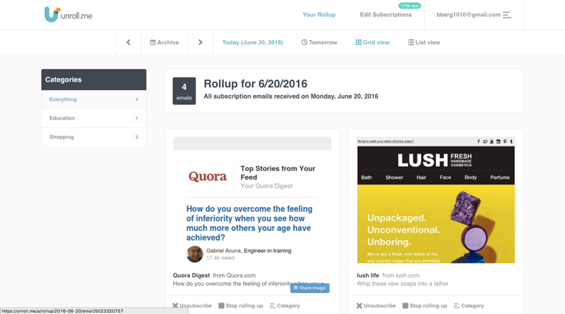 Use Unroll.me to clean up the newsletters in your inbox