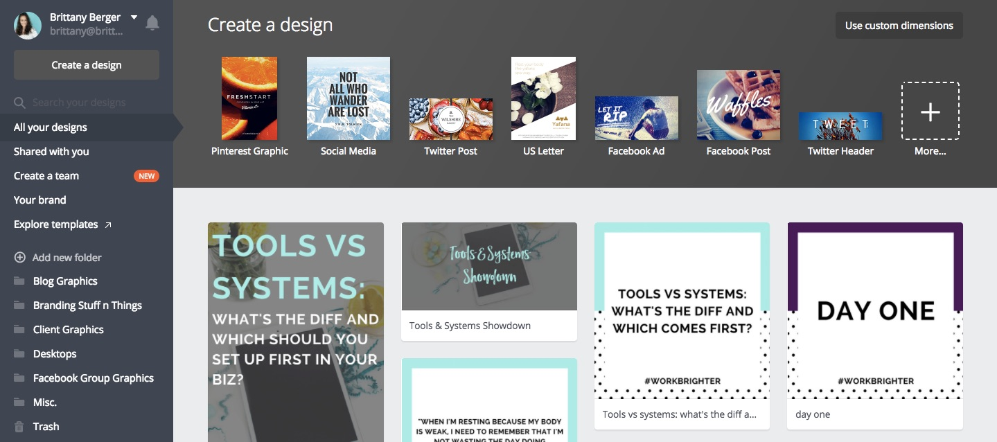 Canva Dashboard Online Business Tools