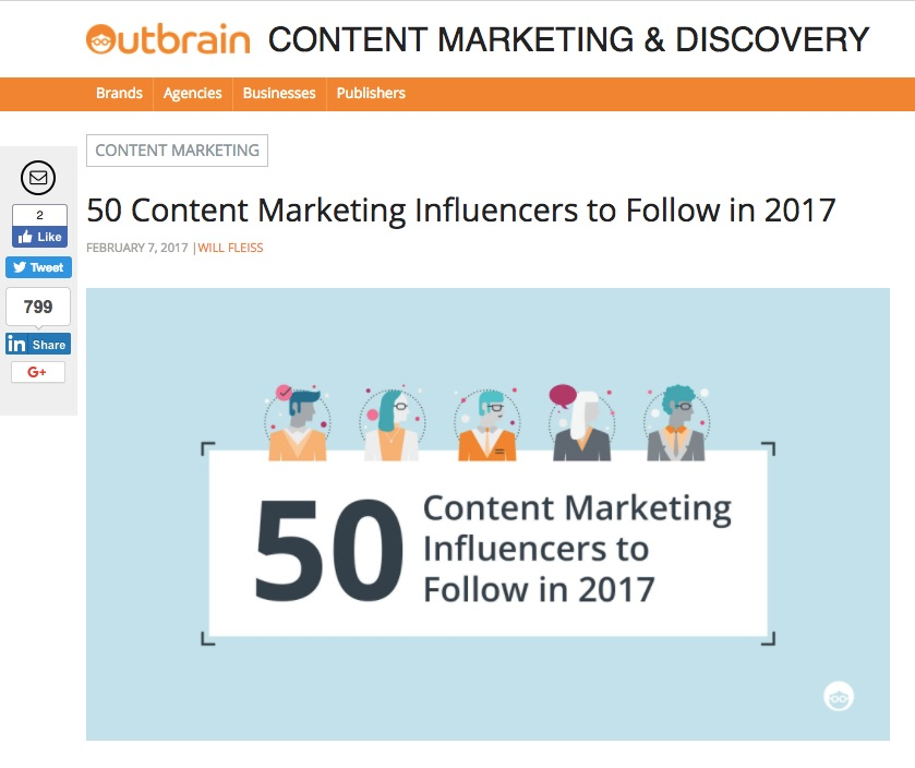 50 Content Marketing Influencers to Follow by Outbrain