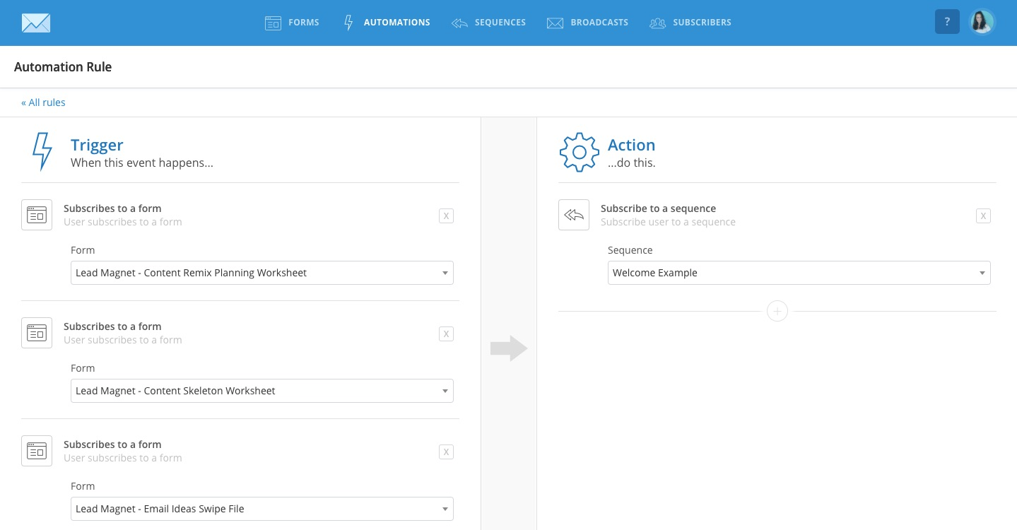 ConvertKit Welcome Automation Screenshot