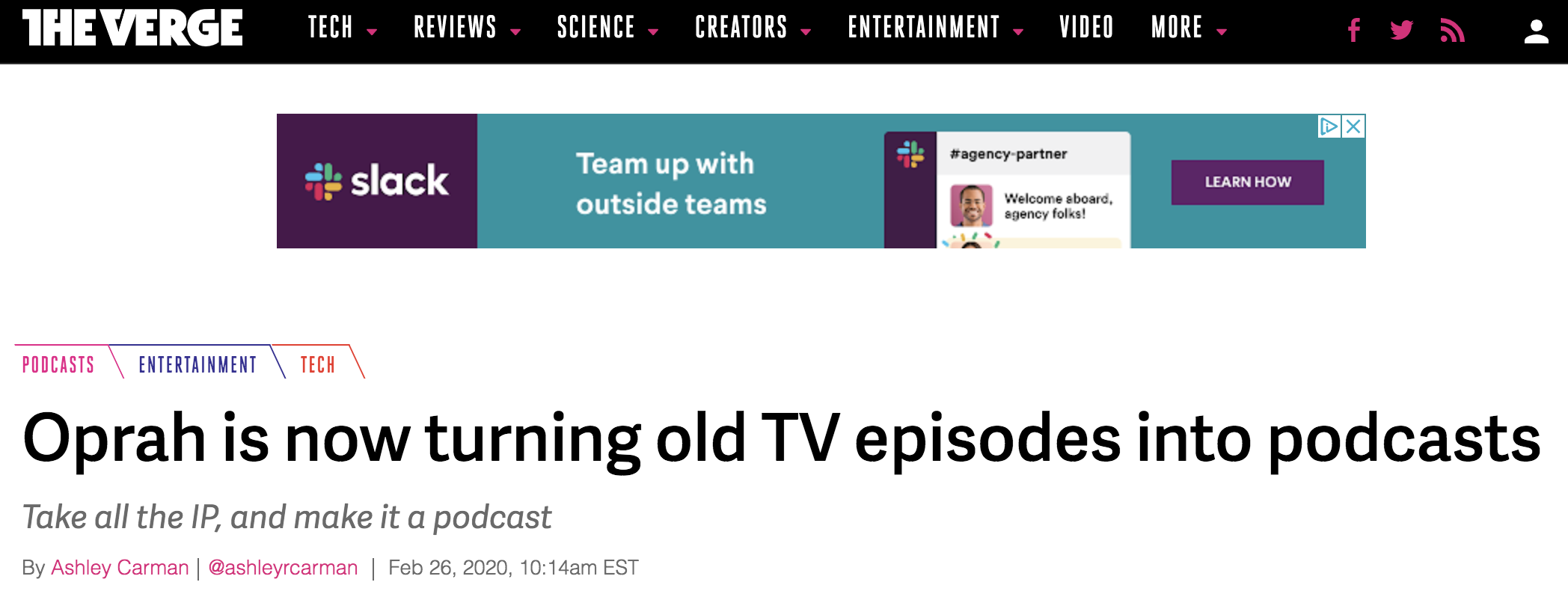 Oprah is now turning old TV episodes into podcasts headline from The Verge