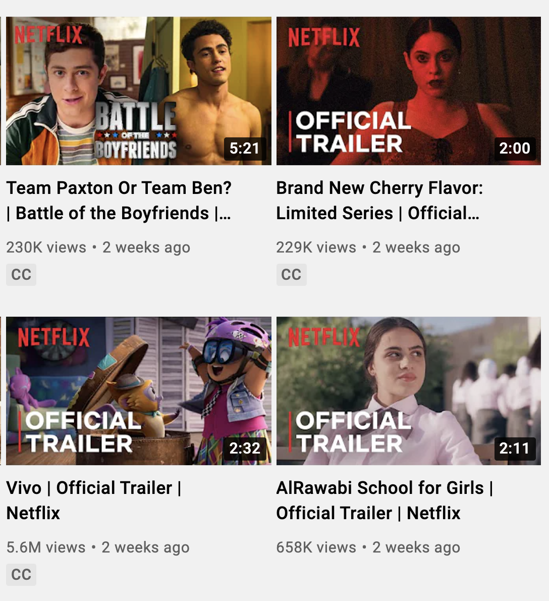 netflix trailers on their youtube channel