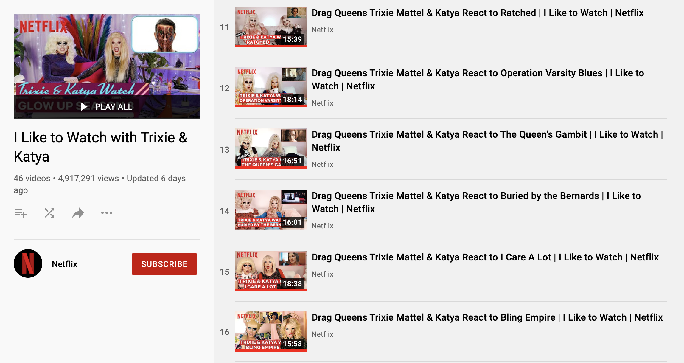 screenshot of netflix's youtube playlist of all trixie and katya like to watch videos