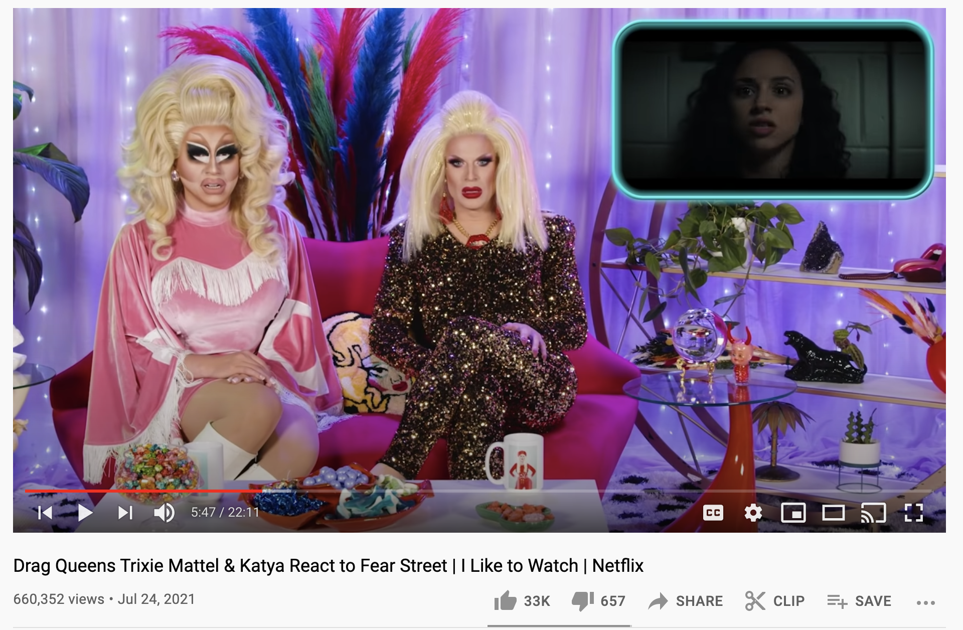 screenshot of trixie and katya react to fear street video on youtube